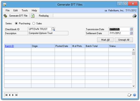 Generate EFT Files