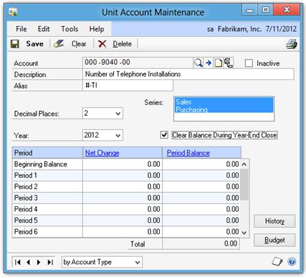 Unit Account Maintenance