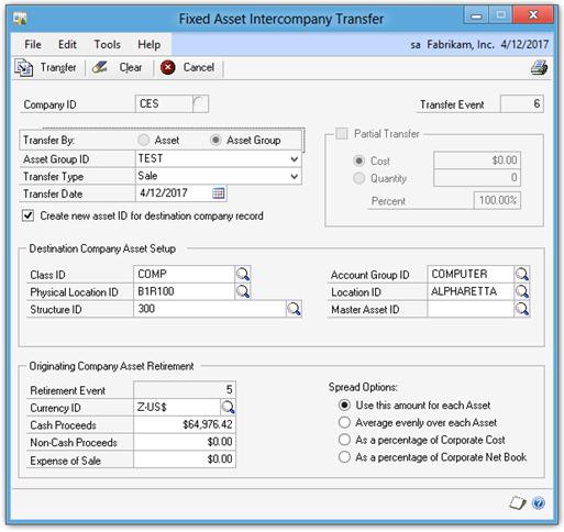 Fixed Asset Intercompany Transfer