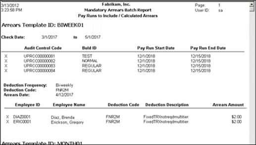 Mandatory Arrears Batch Report