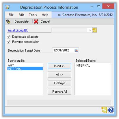 Depreciation Process Information