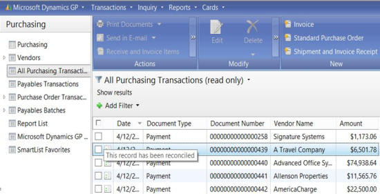 All Purchasing Transactions Navigation List