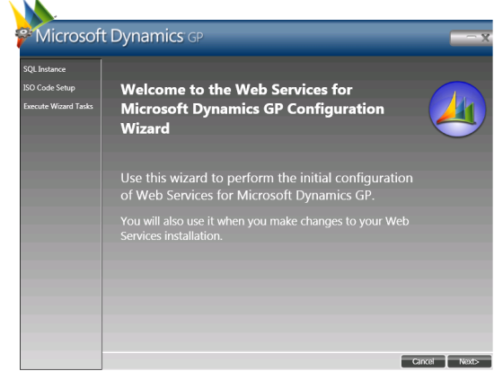 Web Services for Microsoft Dynamics GP Configuration Wizard