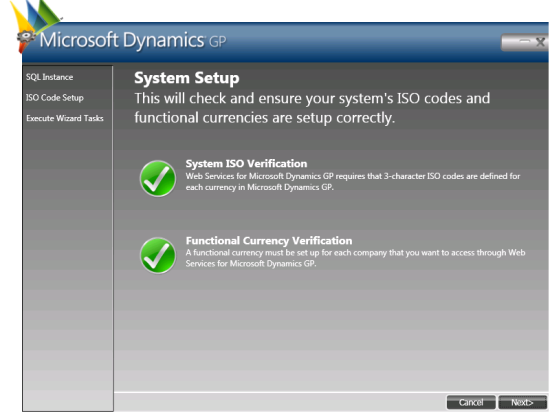 Web Services for Microsoft Dynamics GP Configuration Wizard - Setup System