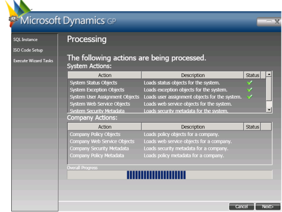 Web Services for Microsoft Dynamics GP Configuration Wizard - Processing