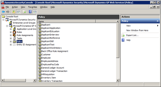 DynamicsSecurityConsole - [Console Root\Microsoft Dynamics Security\Microsoft Dynamics GP Web Services\Policy]