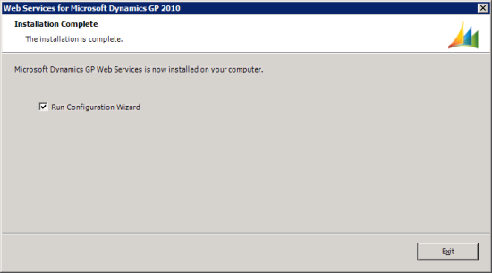 Web Services for Microsoft Dynamics GP Setup Utility - Installation Complete