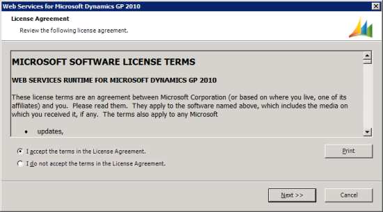 Web Services for Microsoft Dynamics GP Setup Utility - License Agreement