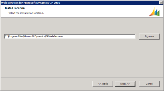 Web Services for Microsoft Dynamics GP Setup Utility - Install Location