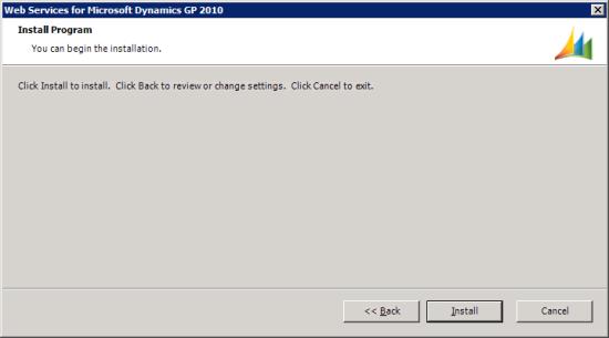 Web Services for Microsoft Dynamics GP Setup Utility - Install Program
