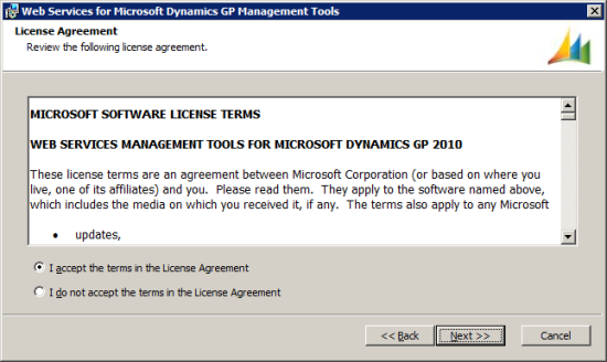 Web Services for Microsoft Dynamics GP Management Tools - License Agreement