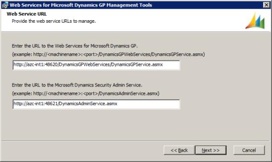 Web Services for Microsoft Dynamics GP Management Tools - Web Service URL