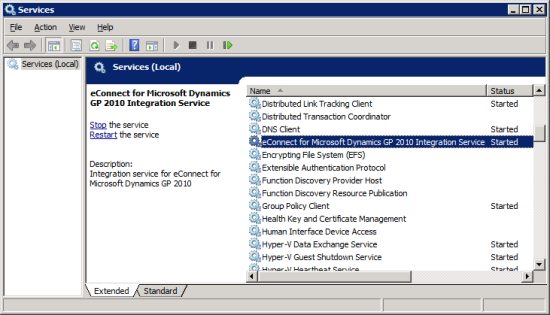 Services - eConnect for Microsoft Dynamics GP 2010 Integration Service