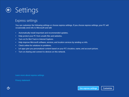 Windows 8 Setup - Settings - Express or Custom