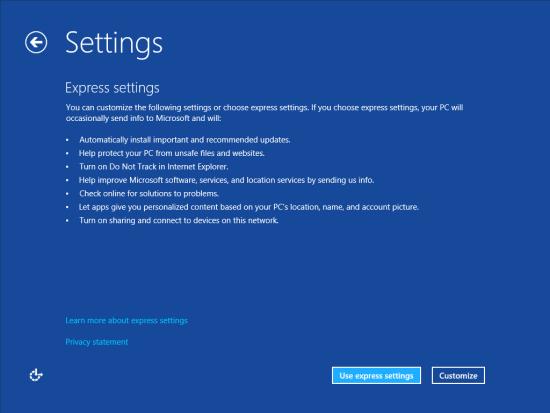 Windows 8 Setup - Settings - Express or Custom