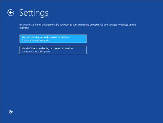 Windows 8 Setup - Settings - Sharing and devices