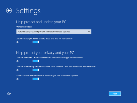 Windows 8 Setup - Settings - Help protect and update your PC