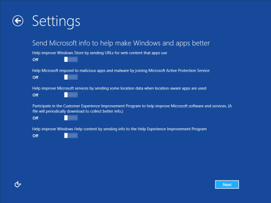 Windows 8 Setup - Settings - Send Microsoft info to help make Windows and apps better