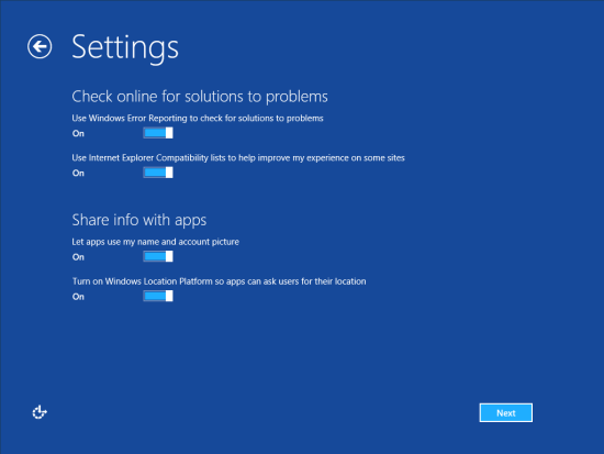 Windows 8 Setup - Settings - Check online for solutions to problems and share info with apps