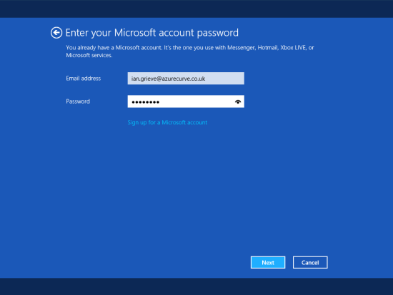 Windows 8 Setup - Enter your Microsoft account password