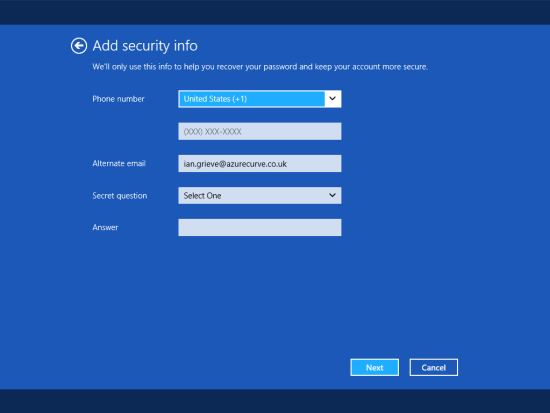 Windows 8 Setup - Add security info