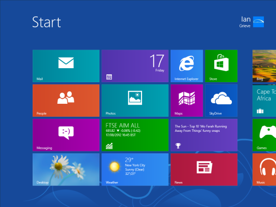 Windows 8 Setup - Start Screen