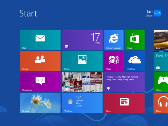 Windows 8 Setup - Start screen