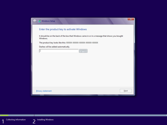 Windows 8 Setup - Enter the product key to activate Windows