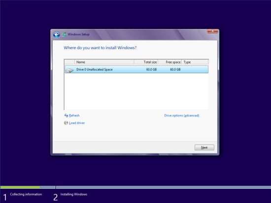Windows 8 Setup - Where do you want to install Windows?