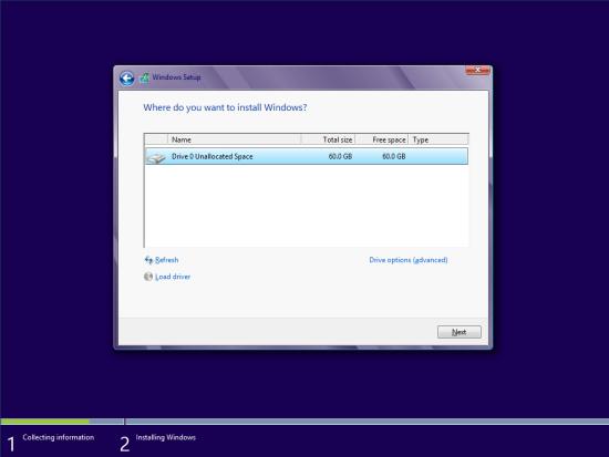 Windows 8 Setup - Where do you want to install Windows?