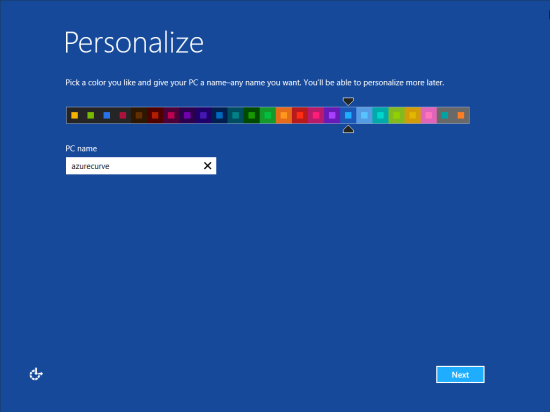 Windows 8 Setup - Personalize