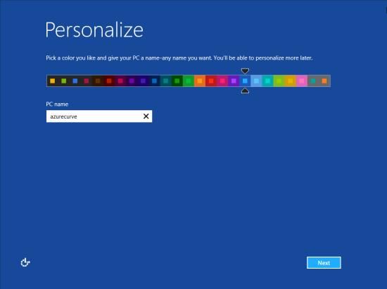 Windows 8 Setup - Personalize