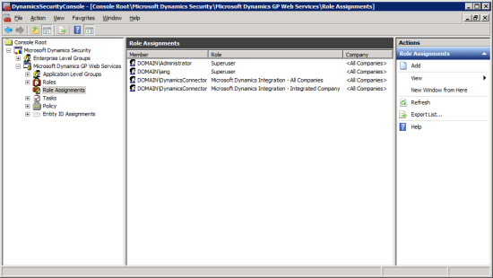 DynamicsSecurityConsole - [Console Root\Microsoft Dynamics Security\Microsoft Dynmaics GP Web Services\Role Assignments]