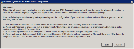 Microsoft Dynamics CRM 2011 Adapter Configuration - Welcome Page