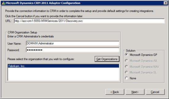 Microsoft Dynamics CRM 2011 Adapter Configuration - CRM Organization Setup