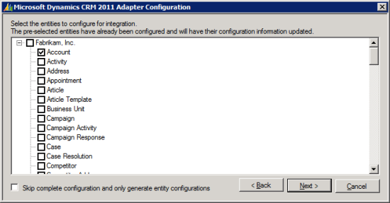 Microsoft Dynamics CRM 2011 Adapter Configuration - Select the entities to configure for integration