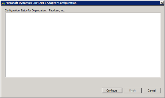Microsoft Dynamics CRM 2011 Adapter Configuration - Configuration Status for Orgnization