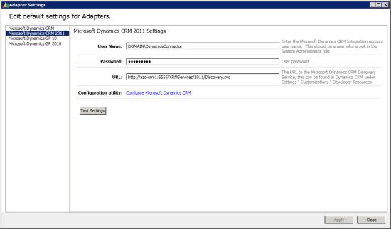 Adapter Settings - Edit default settings for Adapters
