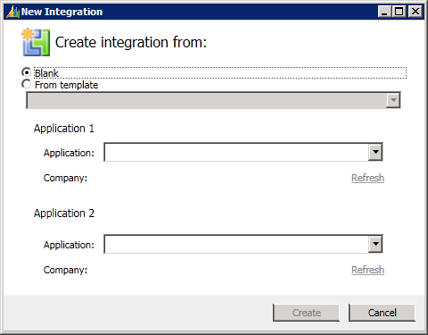 New Integration - Create integration from: