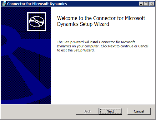 Connector for Microsoft Dynamics - Welcome to the Connector for Microsoft Dynamics Setup Wizard