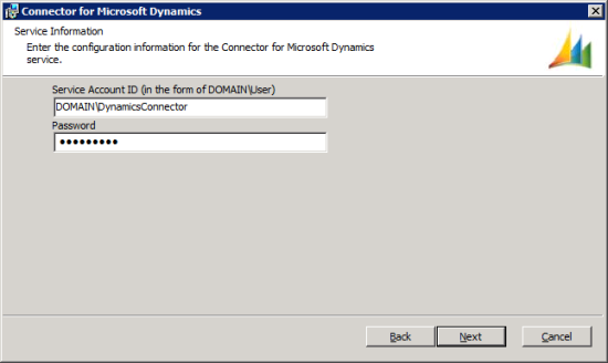 Connector for Microsoft Dynamics - Service Information