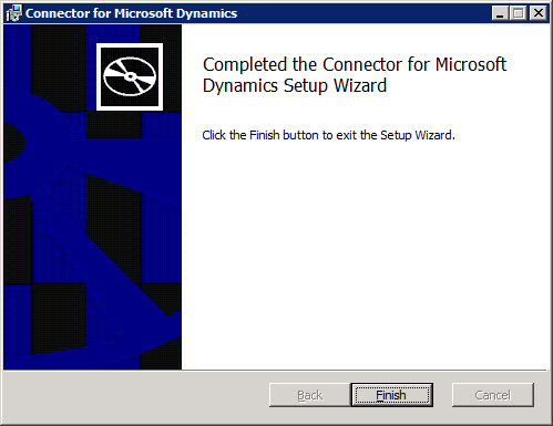 Connector for Microsoft Dynamics - Completed the Connector for Microsoft Dynamics Setup Wizard