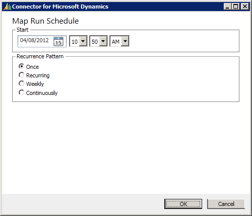 Connector for Microsoft Dynamics - Map Run Schedule