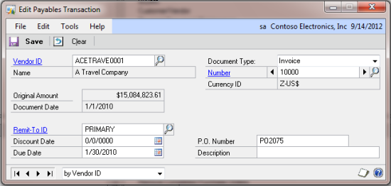 Edit Payables Transaction