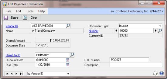 Edit Payables Transaction