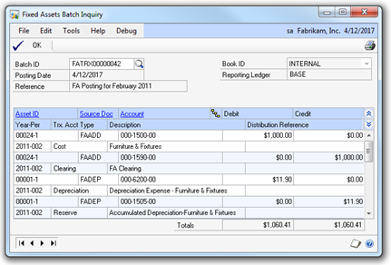 Fixed Assets Batch Inquiry