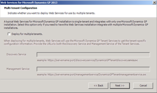 Web Services for Microsoft Dynamics GP 2013 - Multi-tenant Configuration