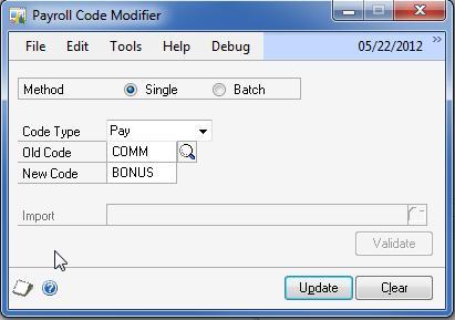 Payroll Code Modifier