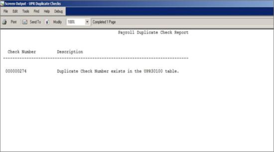 Screen Output - UPR Duplicate Checks