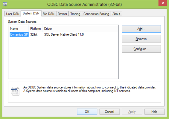 ODBC Data Source Administartor (32-bit)